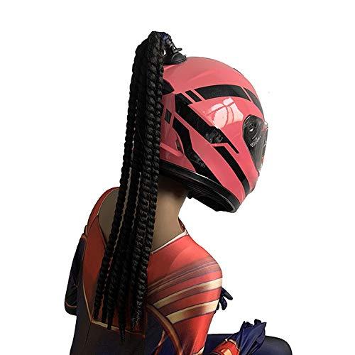 POHOVE - Casco de 23 pulgadas con gradiente de coletas, casco de pelo de coletas de gradiente de rampa para trenzas de caballo con ventosa para moto (# 01)