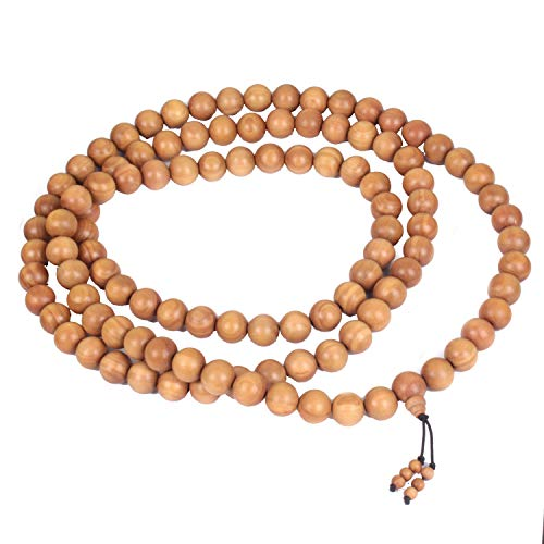 Jingle Jewels Real Sandalwood Stretchable Garland| Wooden Meditation Prayer| Garland for Hand and Neck