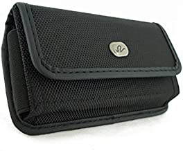Horizontal Sideways Heavy Duty Rugged Canvas Belt Clip Case Cover Pouch Holster for Apple iPhone 4 & iPhone 4S * Fits with Otterbox Commuter & Defender & Reflex