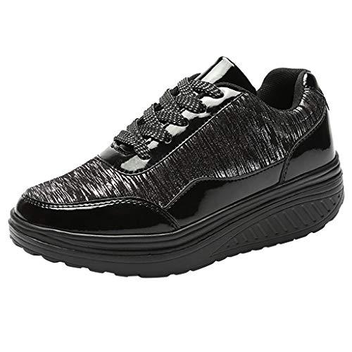 Fannyfuny Zapatillas de Deportivo Mujeres Zapatos para Correr Ligeras Lentejuelas Zapatos Deportivos de Batido Mocasines de Plataforma Casuales Transpirables Zapatos (39, gris-01)