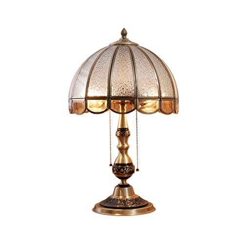 Lámpara de Mesa Lámpara de mesa antigua de lujo, vidrieras, sala de estar, dormitorio, lámpara de noche Lámpara de Cabecera (Color : Remote control switch)