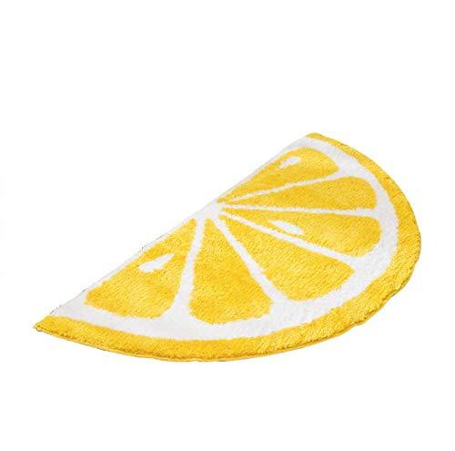 Playtime Cozy Lemon Cute Fruits Half Round Shaped Bedroom Bathroom Doorway Kitchen Floor Rug Carpet Water Absorption Non-Slip mat for Kid's Room (Yellow, 50100CM)