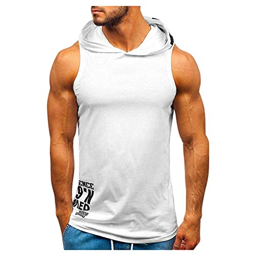 Riou Herren Tank Top mit Kapuze Sport Fitness Bodybuilding Ärmellos Unterhemd Shirt