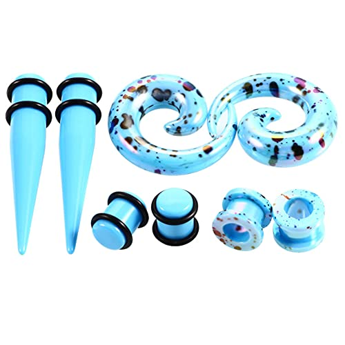 AIUIN 4 par Expansión del oído Diferentes Modelos Dilatadores de Oreja Gel de sílice Estiramiento de Orejas 2-10 mm (3 mm,Azul Marino)