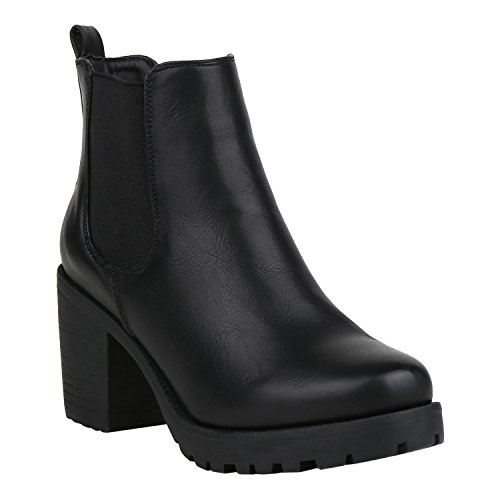 stiefelparadies Damen Stiefeletten Chelsea Boots Gefütterte Booties Leder-Optik Schuhe Mid Heels Profilsohle 125256 Schwarz Glatt 38 Flandell