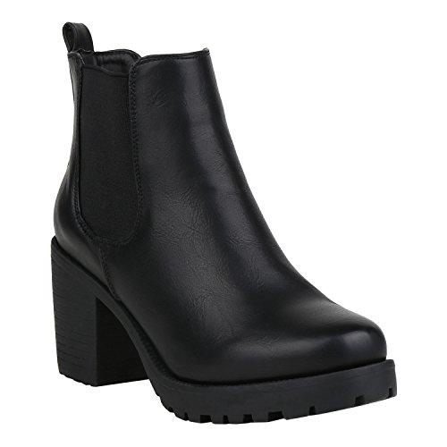stiefelparadies Damen Stiefeletten Chelsea Boots Gefütterte Booties Leder-Optik Schuhe Mid Heels Profilsohle 125256 Schwarz Glatt 39 Flandell