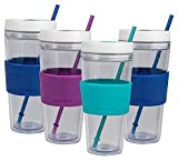 COOL GEAR 4-Pack 24 oz Callisto Clear Chiller with Straw and Band | Dual Function Spill-Proof Closure Colored Re-Usable Tumbler Water Bottle