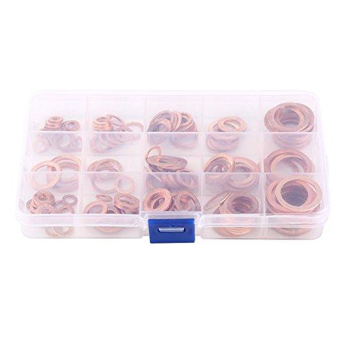 Trainingsunterlagen für 15 Größen Metrisches Ring Kupfer flach Unterlegscheiben Vielzahl Set Dichtringe Sortiment Kit mit Box
