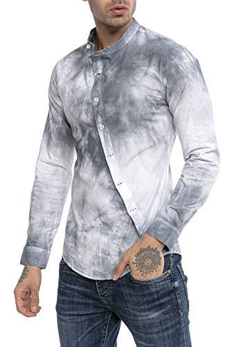 Redbridge Hemd für Herren Freizeithemd Langarm Slim Fit Batik Grau L