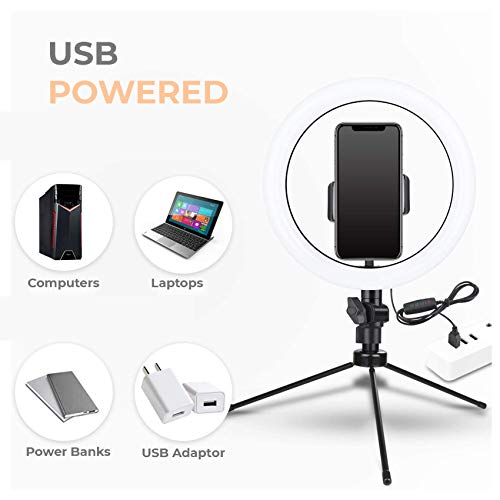 """Tygot 10"""" Portable LED Ring Light with 3 Color Modes Dimmable Lighting   for YouTube   Photo-Shoot   Video Shoot   Live Stream   Makeup & Vlogging   Compatible with iPhone/Android Phones & Cameras"""
