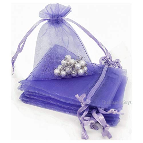 TheDisplayGuys 100-Pack 3x4 Lavender Sheer Organza Gift Bags with Drawstring, Jewelry Candy Treat Wedding Party Favors Mesh Pouch
