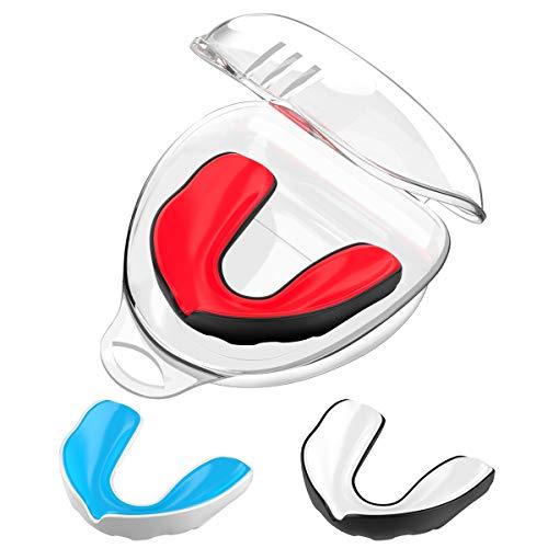 Rhino Valley Sportliche Mundschützer, 3 Pack BPA Frei Schutz der Oberen und Unteren Zähne Zahnschiene mit Belüfteter Hülle für Boxen Taekwondo Eishockey und Andere Sportarten