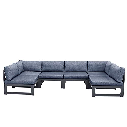 Anstar 6-Piece Aluminum Alloy Outdoor Patio Sectional Sofa Set,Dark Gray