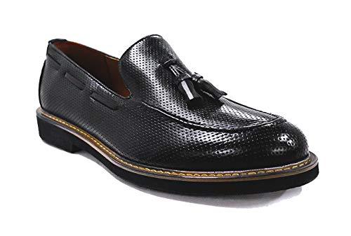Evoga Scarpe mocassini uomo Class nero eleganti Oxford man's shoes college (44, Nero)