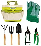 Lantelme 5124 Piante/Set attrezzi da giardino con borsa poliestere/metallo/legno 7 pezzi
