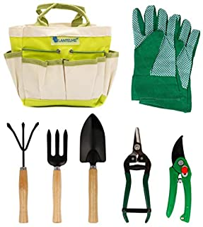 scheda lantelme 5124 piante/set attrezzi da giardino con borsa poliestere/metallo/legno 7 pezzi