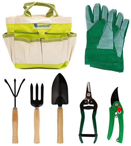 Lantelme Gartengeräte Set 7 teilig Gartenwerkzeug Tasche Gartenschere Garten Handschuhe Schaufel Harke 5124