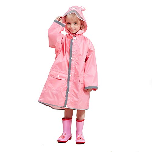 MX kingdom Boys Girls Rain Poncho Hooded Kids Waterproof Reflective Raincoat All in One Puddle SuitsLightweight PVC Transparent Hat Brim for Kids 3-10 Years