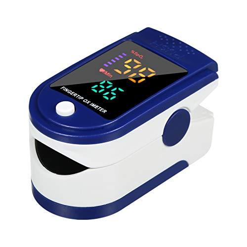 Oxímetro, Mini pulsioxímetro de dedo, frecuencia de pulso, monitor de saturación de oxígeno en sangre, pantalla OLED transparente, cordón, funda de silicona para uso doméstico, azul