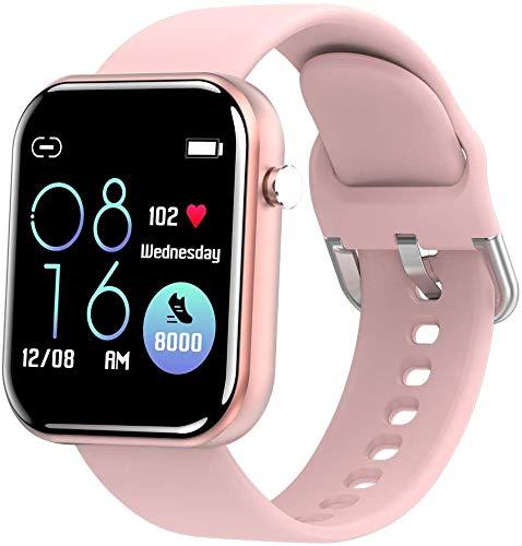 OH Pulsera Inteligente 1.54 Pantalla Táctil Completa Impermeable Reloj Deportivo Inforión de Llamada Entrante Recordatorio de Vibración Regalo de vacaciones/Rosado
