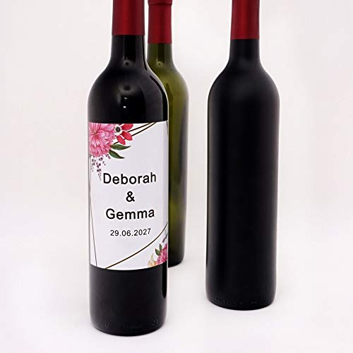 Creative Flowers Personalized Wine Bottle Decorative Adhesive Sticker Party Favor Custom Newlywed Anniversary Date Labels