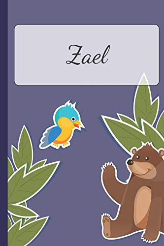 Zael: Personalized Notebooks • Sketchbook for Kids with Name Tag • Drawing for Beginners with 110 Dot Grid Pages • 6x9 / A5 size Name Notebook • ... ... Planner and Journal for kids [Idioma Inglés]