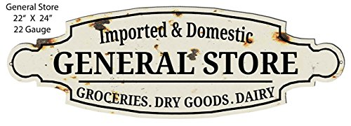 Garage Art Signs General Store Grocery Goods Cut Out Country Metal Sign 8x24
