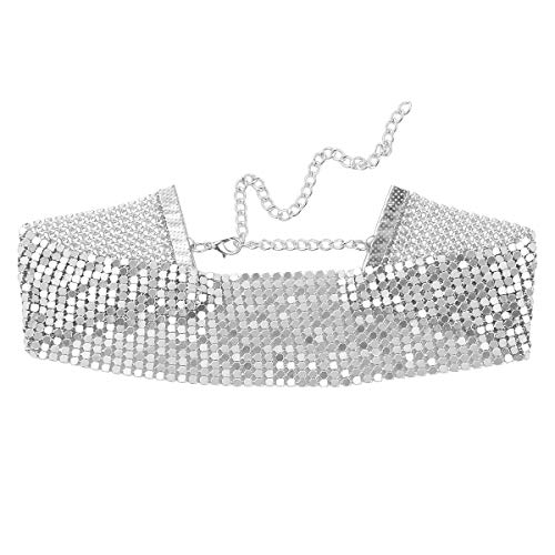 IEFIEL Gargantilla Brillante Mujer Ancho Collar Brillo de Fiesta Club Disfraz Steampunk Choker Alloy Necklace Plateado One Size