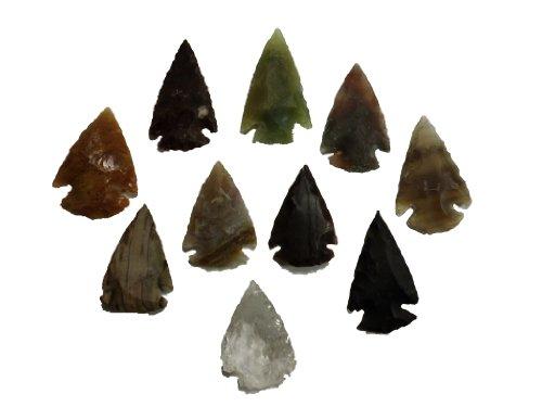 10 puntas de la flecha 2-3,5cm reproduccion de la edad de piedra