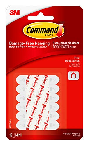 Command Medium Replacement Strips, White, 12-Strips, Re-Hang Indoor Hooks