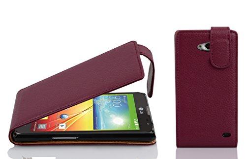 Cadorabo Hülle für LG L90 - Hülle in Bordeaux LILA – Handyhülle aus Strukturiertem Kunstleder im Flip Design - Hülle Cover Schutzhülle Etui Tasche