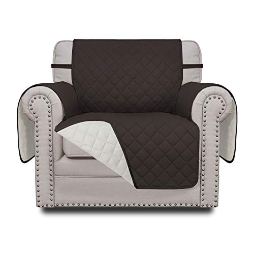Easy-Going Sofa Slipcover Reversible Chair Cover Water Resistant Couch Cover Furniture Protector with Elastic Straps for Pets Kids Children Dog Cat(Chair,Chocolate/Ivory)