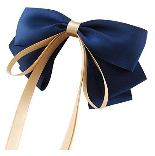 Plus Nao(プラスナオ) ヘアアクセサリー ヘアクリップ ヘアゴム バレッタ 髪飾り リボン レディース 無地 かわいい おしゃれ 上品 大人っぽ クリップ ブルー