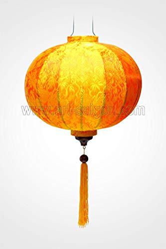 Lampion, Asiatisch, aus Seide, Orange R, Durchmesser 38 cm, Vietnam-Handwerkskunst R25-O