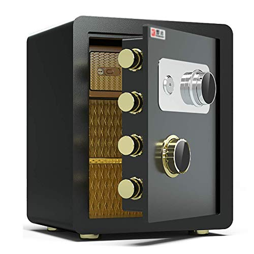 Caja fuerte de seguridad, caja fuerte con llave, caja fuerte mecánica, hogar, todo acero, 45 cm, caja fuerte antirrobo, mini gabinete de seguridad para oficina, caja fuerte para el hogar, resistente a