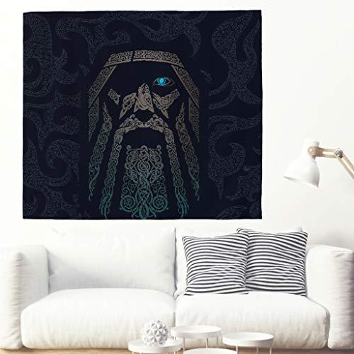 Viking Odin Wandteppich Tapestry Psychedelisch Tapisserie Wandtuch Hippie Wall Hanging,Wanddeko Indisch Wandbehang Strandtuch,Tagesdecke,Tuch,Picnic Throw white 230x150cm