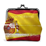 Monedero España Bandera PU Cuero Exquisito Hebilla Monederos Monedero Vintage Clásico Beso-Cerradura Cambio Monedero Carteras Regalo