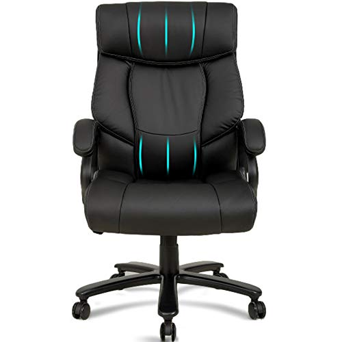 Big and Tall Office Chair 400LBS Heavy Duty Wide Seat Ergonomic Desk Chair High Back Executive Office Chair with Lumbar Support, PU Leather Adjustable Task Chair for Adults Women, Black