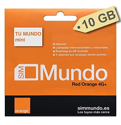 Orange - Tarjeta SIM Prepago (Tu Mundo Mini) 10 GB en España | 400 Minutos Nacionales e internacionales | 10 GB Roaming en Europa | Activación Solo Online | Velocidad 4G