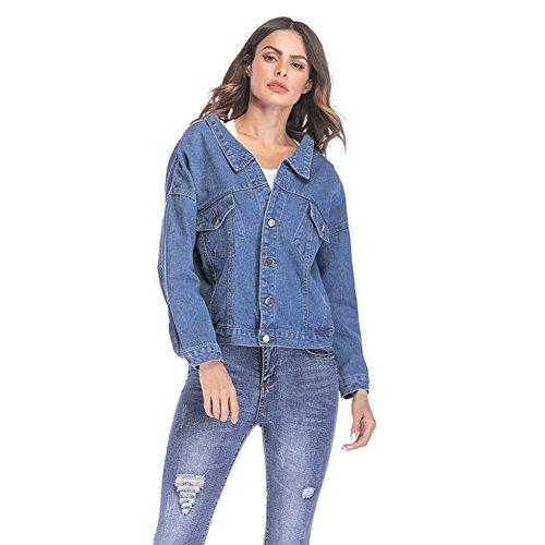 Review HUAN Women Girls Loose Fit Long Sleeve Vintage Denim Light Wash Faded Jean Jacket (Color : Bl...