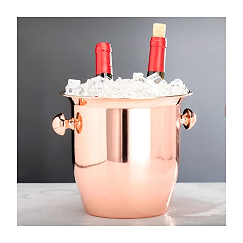 SHUTING2020 Hielera de Pared Cubo de Hielo de Acero Inoxidable Espesado Handle Binaural Restaurante Bar Bar Champagne Cubo Cubo Bebida Cubo de Hielo Jarrón de Escritorio Cubo de champán Wine Bucket