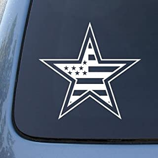 American Flag in Star - Car, Truck, Notebook, Vinyl Decal Sticker #2279 | Vinyl Color: White