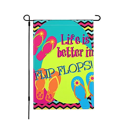 Jopath Life Is Better In Flip Flops-4 45,7 x 30,5 cm Gartenflagge, doppelseitig, Dekoration für Garten, Bauernhaus, Hof, Schild, Leinenähnlicher Stoff