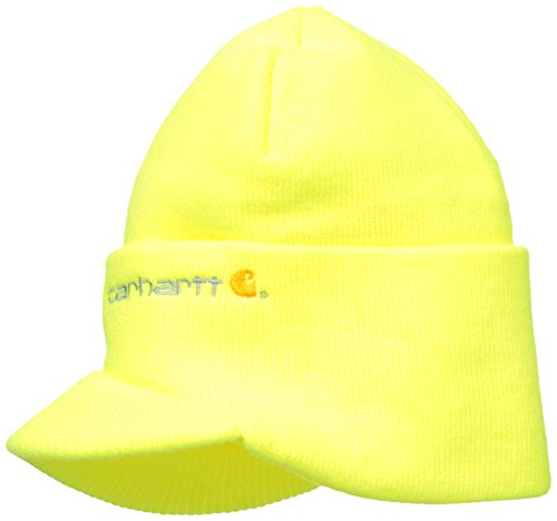 Carhartt Men's Knit Hat with Visor, Brite Lime, One Size