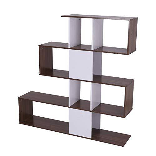 HOMCOM Regal Standregal Bücherregal Raumteiler Holz weiß/braun 145 x 30 x 145 cm