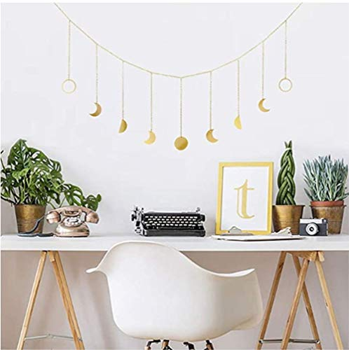 Symina Boho Ornaments for The Home Metal Sun Moon Garland Moon Phases Garland with Chains Celestial Chakra Magic Metal Piece Hanging Wall Decor Wall Hangings (HHM0103)