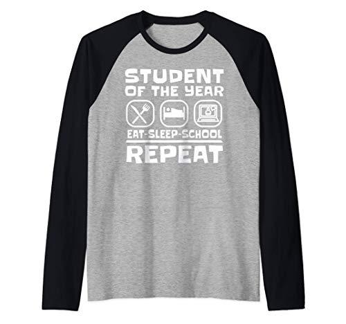 EAT SLEEP SCHOOL REPEAT Virtual Learning Teacher Student Camiseta Manga Raglan