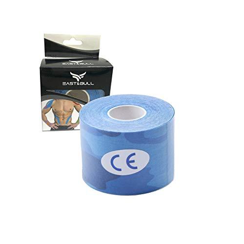 East&Bull - Nastro kinesiologico, 5 cm x 5 m, Bleu Camo, 5cm x 5m