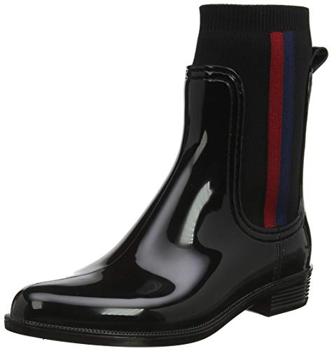 Tommy Hilfiger Knitted Rain Boot, Stivaletti Donna, Nero (Black 990), 42 EU