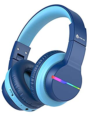 Bluetooth Kids Headphones over ear ,iClever BTH12,Colorful LED Lights, Kids Wireless Headphones Over Ear with 74/85/94dB Volume Limited, 40H Playtime, Bluetooth 5.0, Built-in Mic for School/Tablet/PC from Iclever